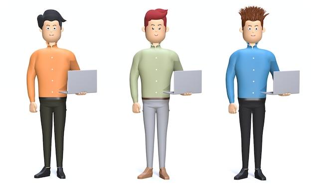 Cartoni animati dell'illustrazione 3d che stanno con i computer portatili in mani