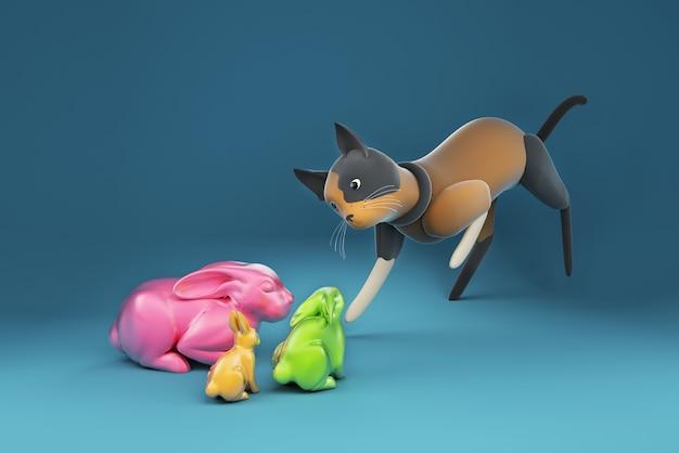 Gatto dell'illustrazione 3d che fissa alla bambola del coniglio