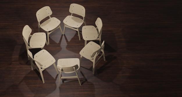 Illustrazione 3d, sedia posta in un cerchio per il lavoro su un pavimento di legno scuro