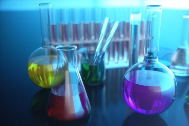 Illustrazione 3d di una reazione chimica, il concetto di un laboratorio scientifico su una priorità bassa blu. boccette piene di liquidi colorati con diverse composizioni.
