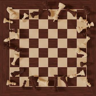 Illustrazione 3d gioco da tavolo di scacchi idee di affari e concorrenza di strategia di numeri scacchi su un bianco