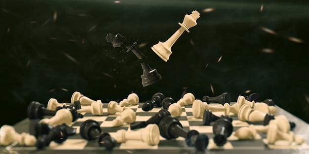 Illustrazione 3d scacchiera concetto di gioco affari e concorrenza strategia concetto battaglia per la vittoria
