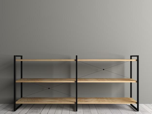 Illustrazione 3d. petto rack nel soppalco. l'interno della stanza. i mobili e l'illuminazione. sfondo per banner