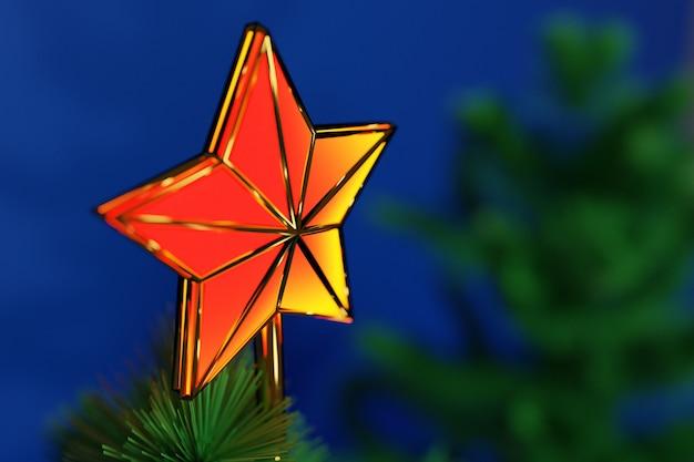Illustrazione 3d una stella decorativa di natale sulla cima di un albero di natale con un bello fondo del bokeh. attributi di natale e capodanno.