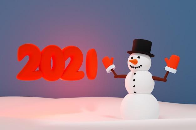 Illustrazione 3d di un pupazzo di neve di natale vicino alla scritta 2021