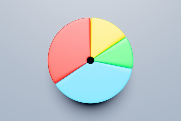 Illustrazione 3d di un cerchio diviso in un gran numero di settori su uno sfondo grigio isolato.