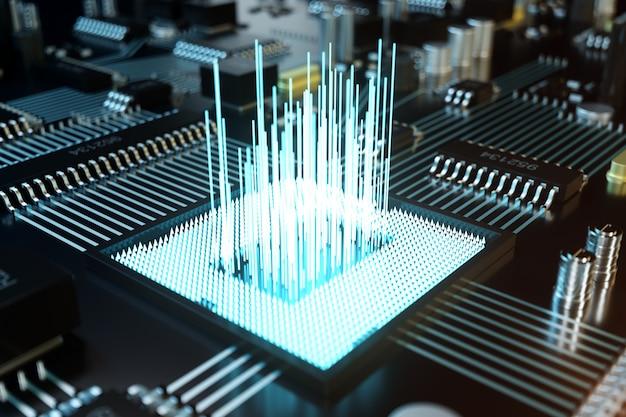 Illustrazione 3d circuito stampato. tecnologia di fondo