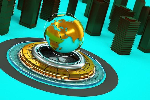 Illustrazione 3d del centro della città con un punto di riferimento nel mezzo. globo, terra, pianeta, mondo. oggetti isolati 3d su uno sfondo turchese. parti dorate di oggetti. grafica 3d