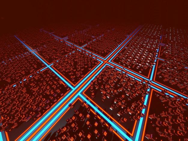 Illustrazione 3d di una città di gioco per computer classico in stile anni '80.