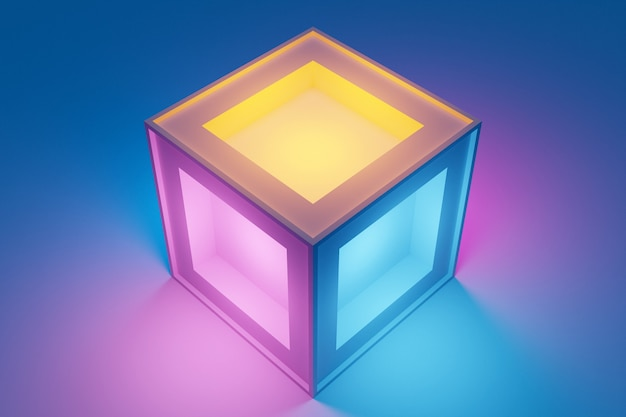 Illustrazione 3d classica natura morta con una figura geometrica volumetrica di un cubo luminoso con un'ombra sotto il colore neon blu, rosa, arancione