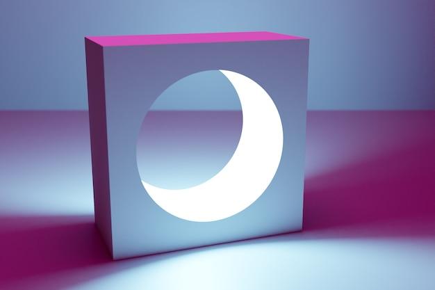 3d illustrazione classica natura morta con una figura geometrica volumetrica, un quadrato con un foro rotondo all'interno con un'ombra sotto un colore neon blu-rosa
