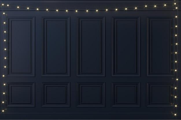Illustrazione 3d. parete classica di pannelli di legno scuro e luminose ghirlande natalizie di capodanno. falegnameria all'interno. sfondo.