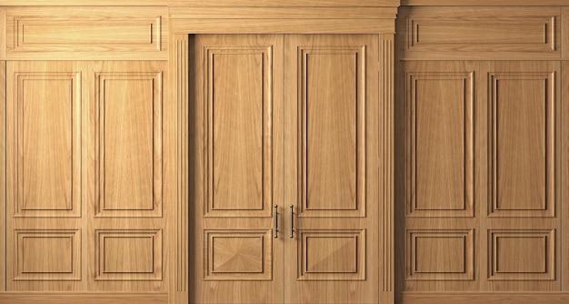 Illustrazione 3d. parete classica di pannelli e porte in legno di faggio vintage. falegnameria all'interno.