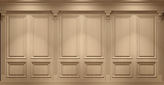 Illustrazione 3d. parete classica di pannelli in legno di faggio vintage. falegnameria all'interno. .