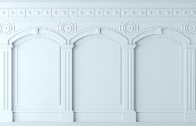 Illustrazione 3d. parete classica di pannelli di legno bianchi. falegnameria all'interno. sfondo.