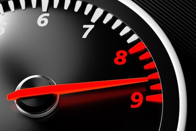 Illustrazione 3d close up pannello auto nero, contagiri digitale luminoso. la freccia del contagiri mostra la velocità massima