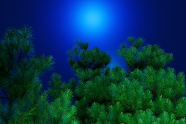 Illustrazione 3d di una chiusura dei giovani rami di conifere verde brillante su uno sfondo sfocato blu, soft focus