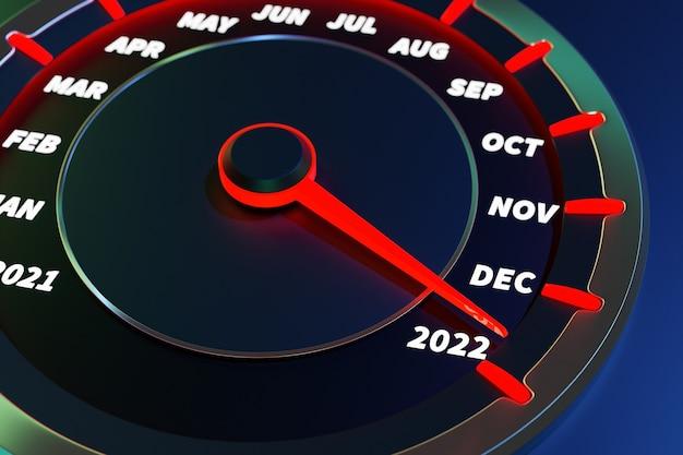 Illustrazione 3d primo piano pannello dell'automobile dello strumento con tachimetro, contagiri, che dice buon natale 2021, 2022. il concetto del nuovo anno e del natale nel campo automobilistico
