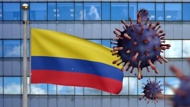 Illustrazione 3d bandiera colombiana che sventola sulla moderna città del grattacielo con focolaio di coronavirus come influenza pericolosa. bella torre alta e virus dell'influenza covid 19 con banner colombia