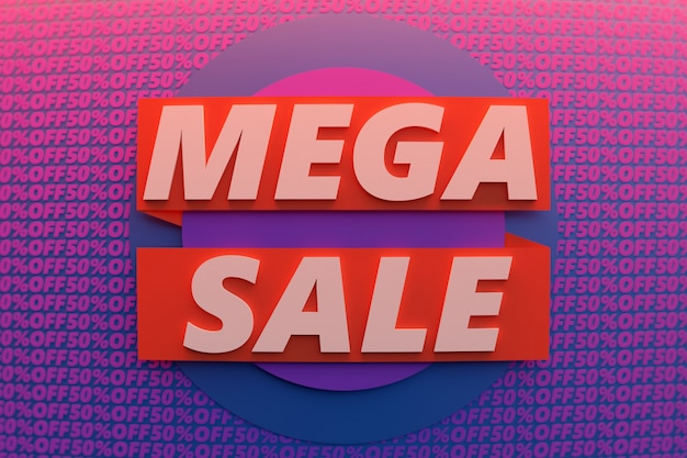 Illustrazione 3d di uno sfondo di vendita geometrica banner viola e rosso colorato.