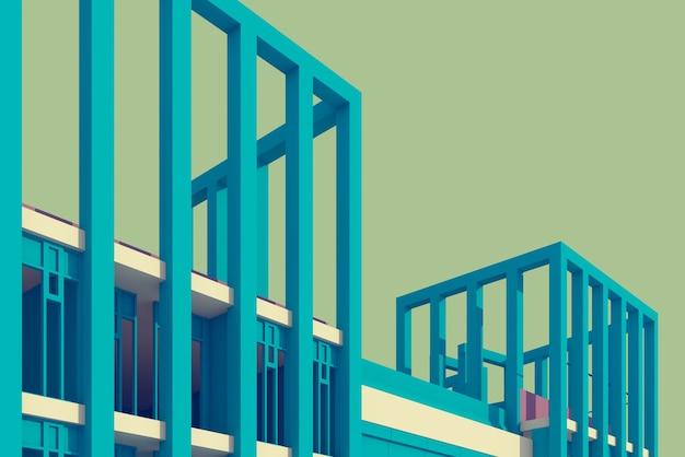 3d illustrazione colonna e trave di design