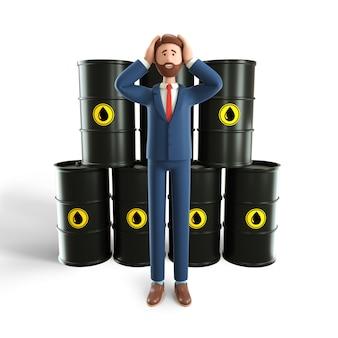 Concetto dell'illustrazione 3d di eccesso nel mercato petrolifero. uomo d'affari deluso con un'enorme riserva di petrolio.