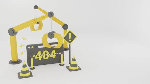 Illustrazione 3d sotto sfondo dell'app web di manutenzione del problema di costrizione