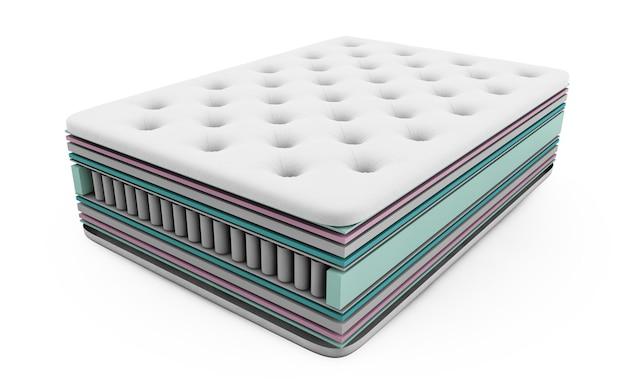 Illustrazione 3d del contenuto degli strati del materasso con molle insacchettate