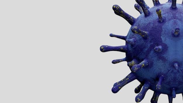 Illustrazione 3d. il concetto di coronavirus 2019 ncov è responsabile dell'epidemia di influenza asiatica e dell'influenza dei coronavirus come casi pericolosi di ceppo influenzale come pandemia. virus del microscopio covid19 da vicino.