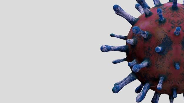 Illustrazione 3d. focolaio di coronavirus che infetta il sistema respiratorio. influenza di tipo covid 19 sfondo del virus come influenza pericolosa. concetto di rischio sanitario pandemico con cellule malate.