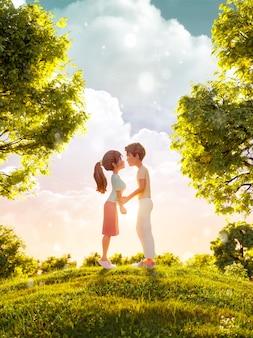 Illustrazione 3d di una coppia innamorata che guarda l'un l'altro e che si bacia nel parco