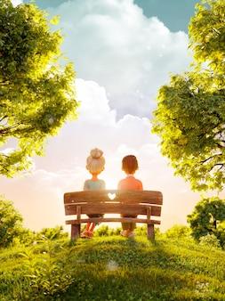 Illustrazione 3d di una coppia nell'amore che si siede sulla panchina nel parco al tramonto