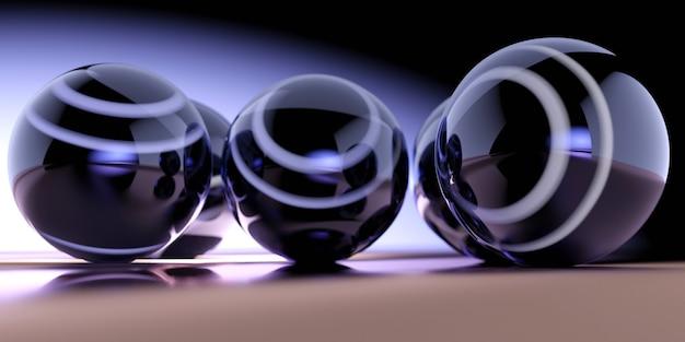 Illustrazione 3d di sfere blu scuro con strisce bianche su superficie riflettente marrone e bianco e da