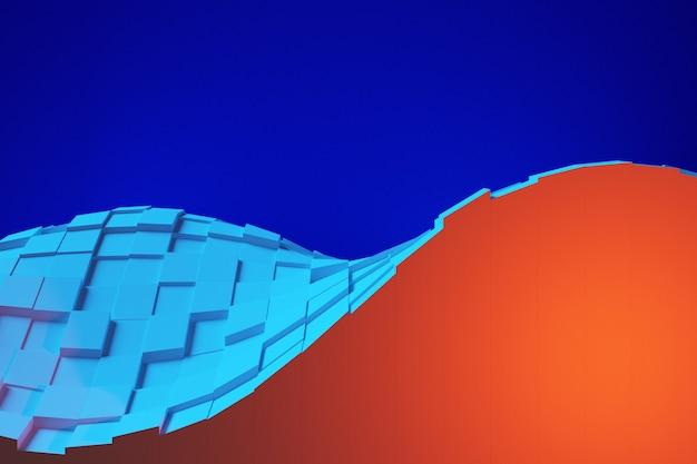 Illustrazione 3d dell'onda astratta di design blu e arancione su sfondo blu. modello di forma. priorità bassa della geometria di tecnologia.