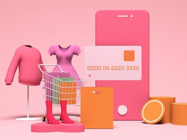 Progettazione di illustrazione 3d per marketing e acquisti online con spazio di copia