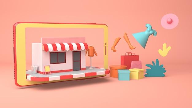 Illustrazione 3d per il marketing e lo shopping online