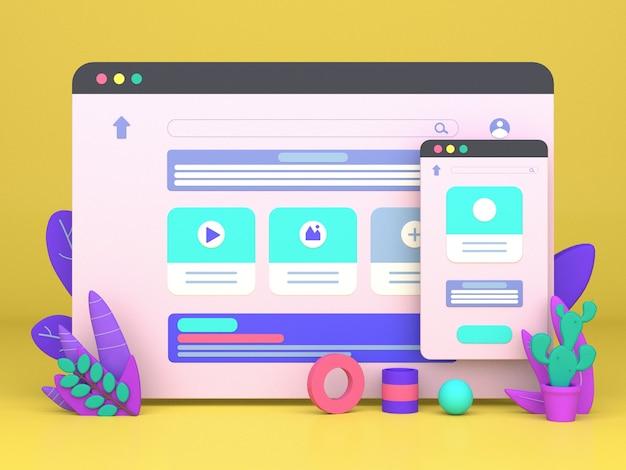 Progettazione di illustrazione 3d per marketing online e costruzione di siti web