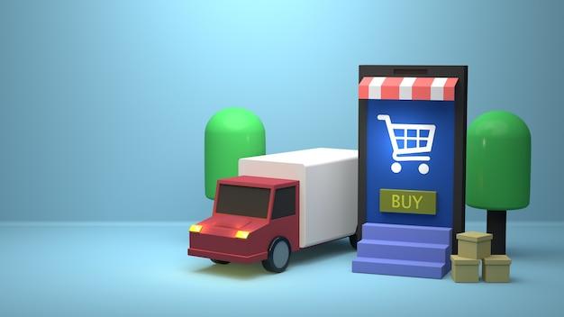Illustrazione 3d design per il marketing online con camion di consegna