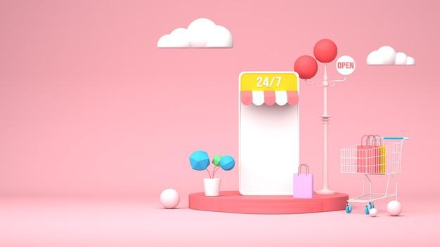 Illustrazione 3d design per il marketing online con lo smartphone