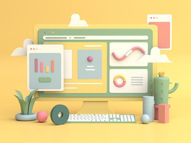 3d illustration design per il marketing online