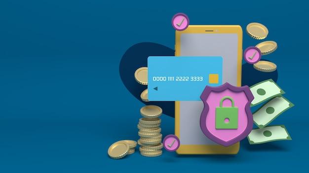 Progettazione di illustrazione 3d per sicurezza online e sicurezza internet con spazio di copia