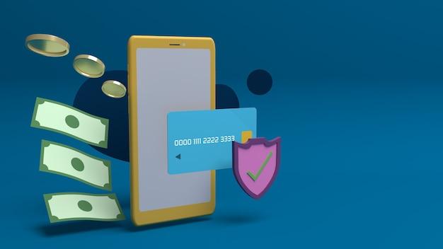 Progettazione di illustrazione 3d per sicurezza online e sicurezza internet con copia spacec