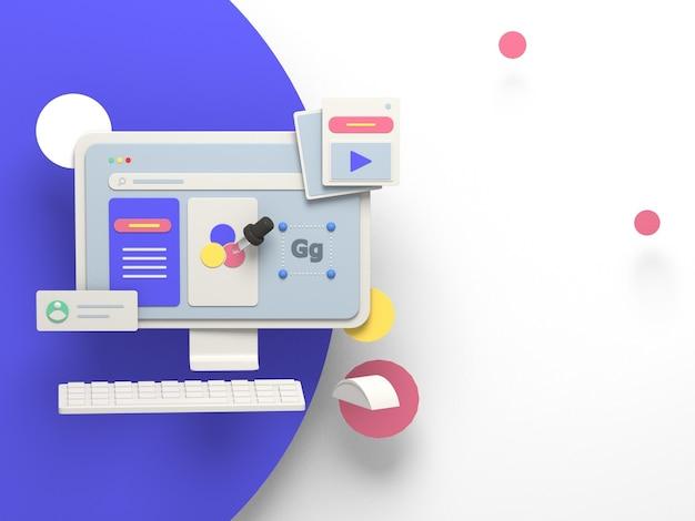 Illustrazione 3d per la copertina del sito web e il marketing online
