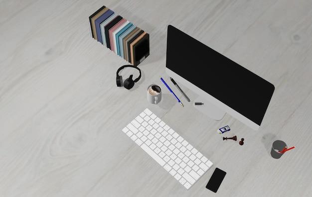 Illustrazione 3d, scrivania, pavimento in legno chiaro, con computer portatile, penna, telefono, cuffie e forniture, vista dall'alto con spazio per stendere, piatto, calma al lavoro
