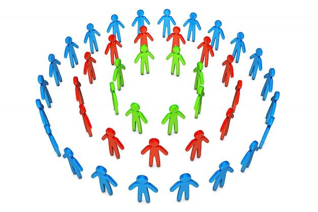 Illustrazione 3d dei cerchi differenti degli amici che stanno insieme