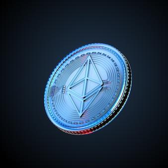 3d illustrazione di criptovaluta digitale ethereum