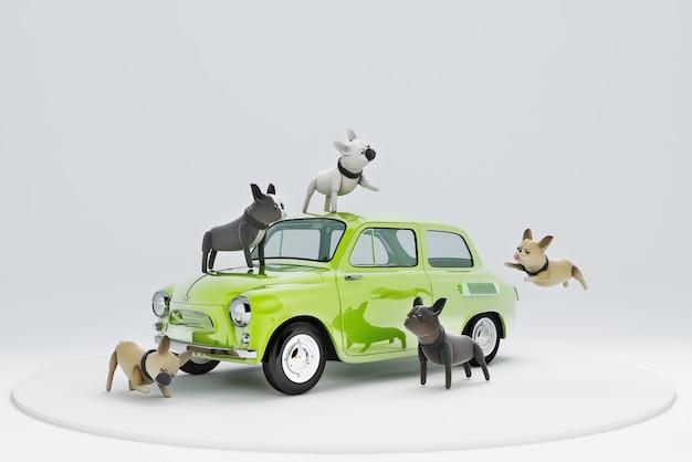 Cane di illustrazione 3d che viaggia in auto