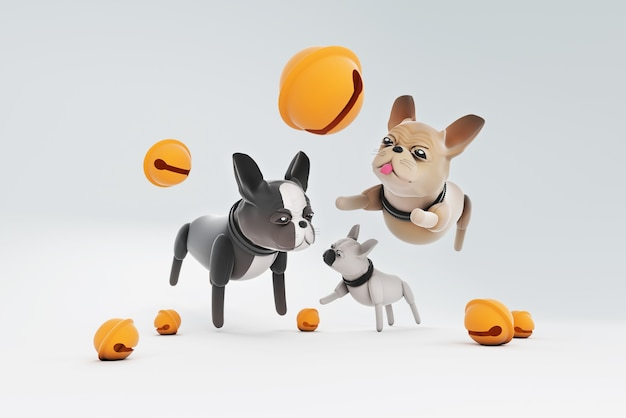 Cane dell'illustrazione 3d che gioca campana