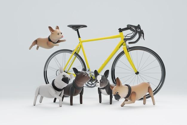 Cane di illustrazione 3d che gioca accanto alla bicicletta