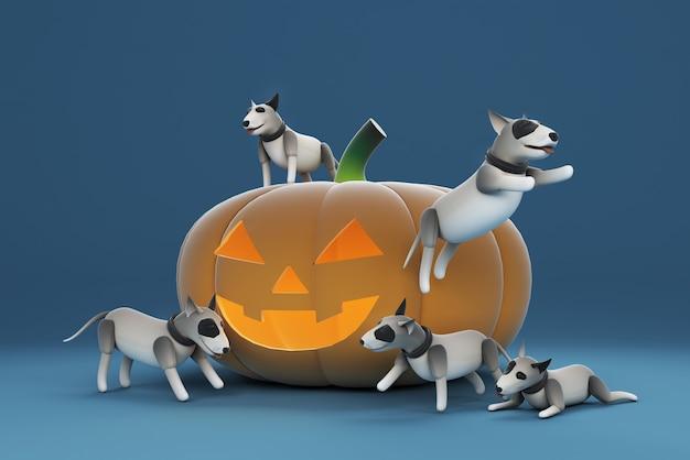 Illustrazione 3d di un cane che gioca una grande zucca